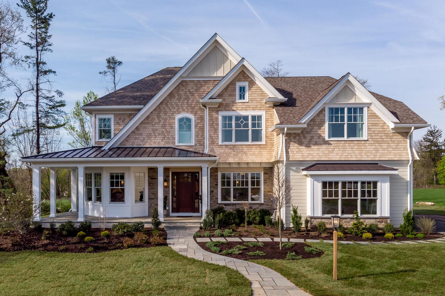 Exterior of a new home in Wayne from Bentley Homes.