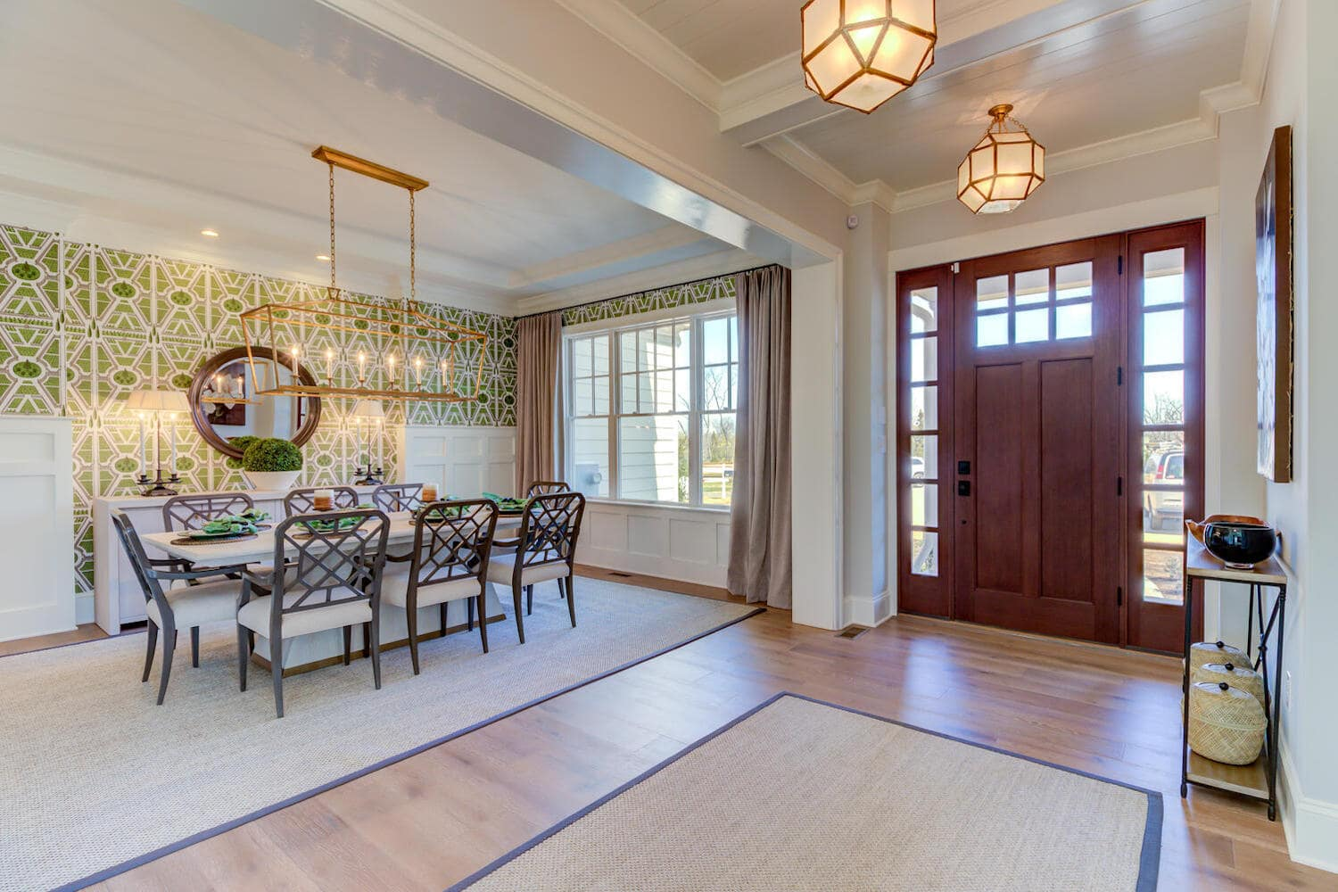 Entrance and dining room in a new home in Wayne from Bentley Homes.