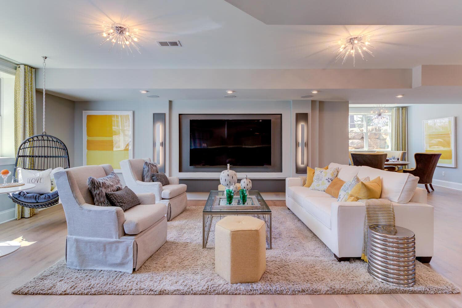 Interior imaged of a gathering room in a new home from Bentley Homes.