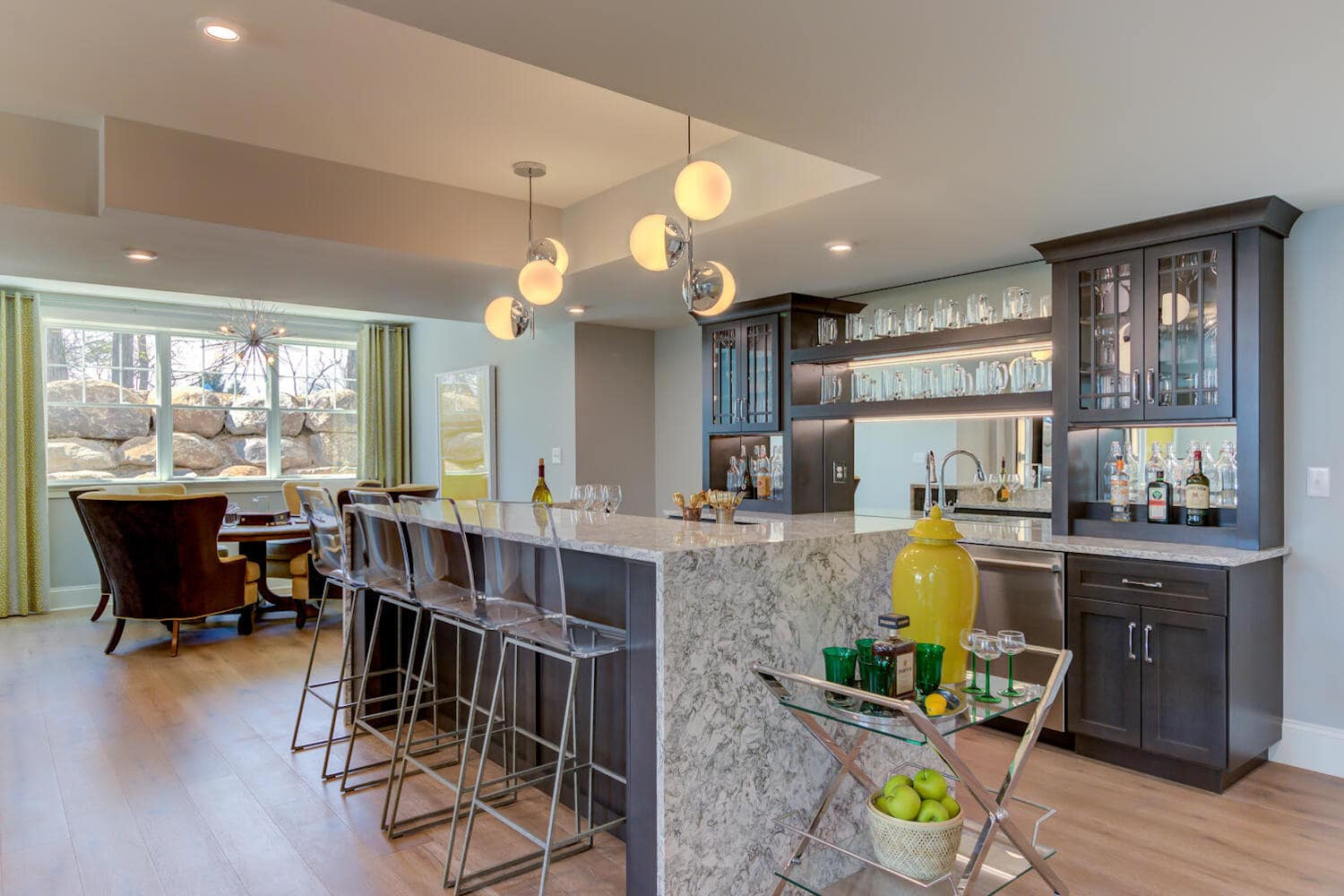 Interior image of a bar in a new home from Bentley Homes.