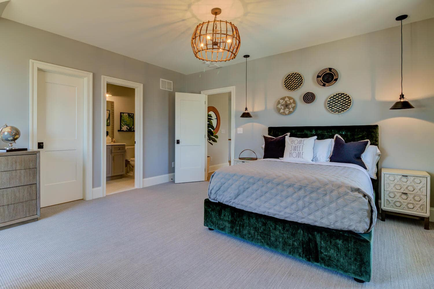Master bedroom in a new home from Bentley Homes.