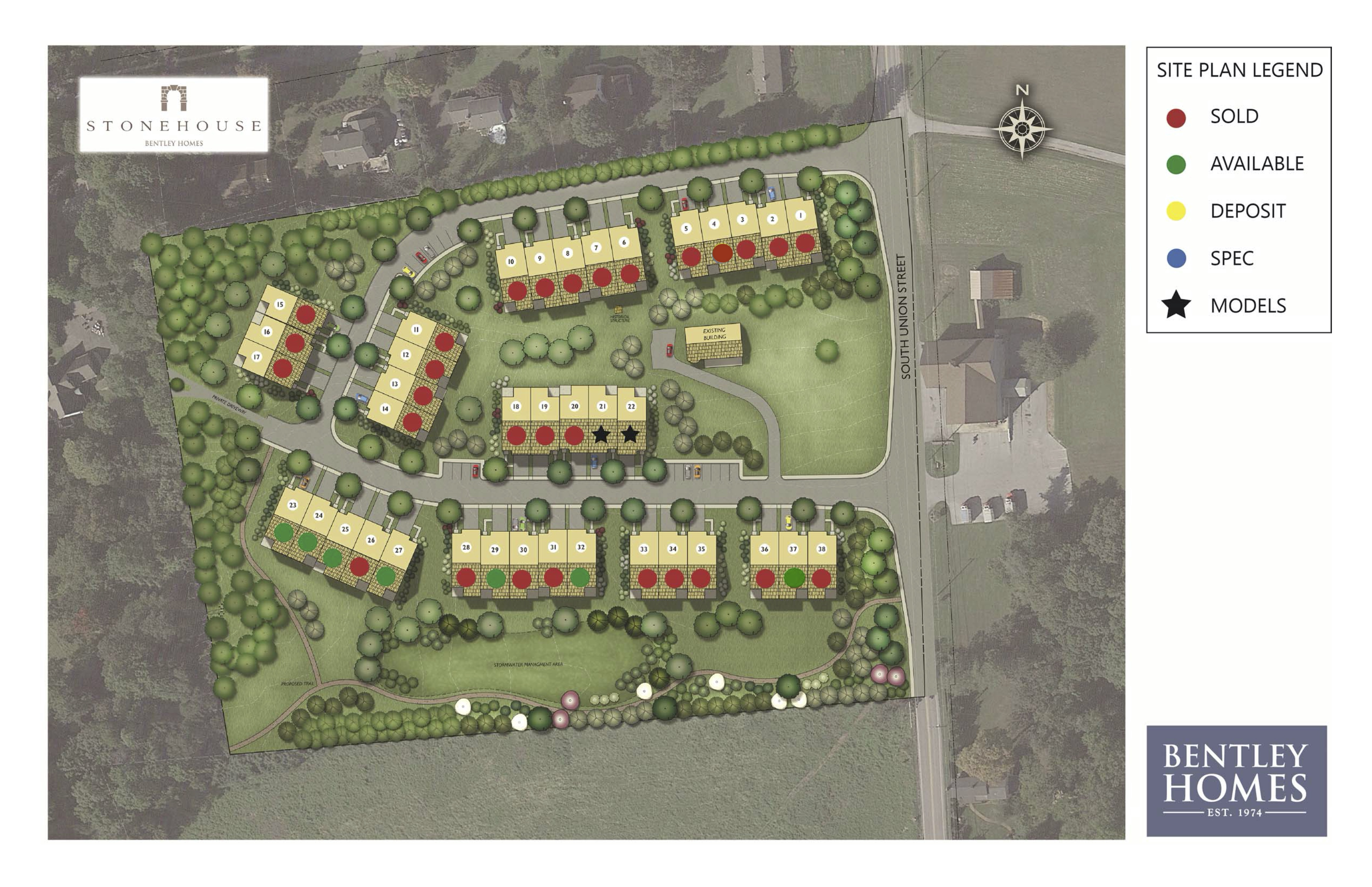 Stonehouse site plan with legend of sold and available homes.