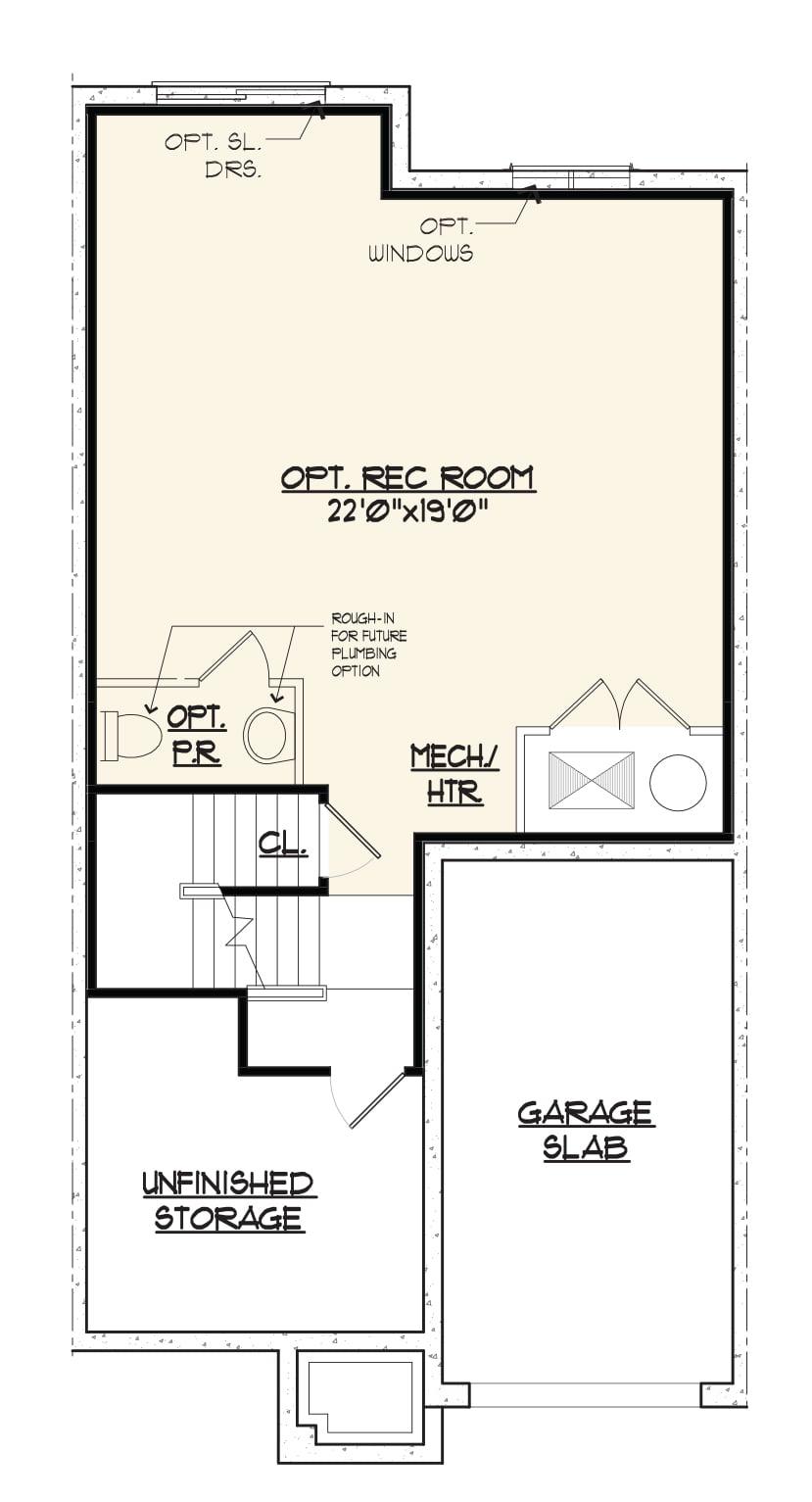 Bentley Homes Jamestown 2 basement floor plan.