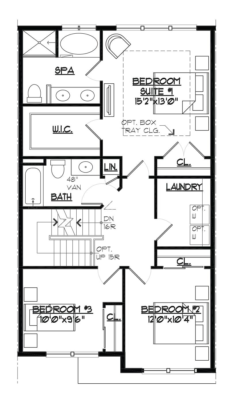 Image of the Jamestown townhome bedroom level floorplan