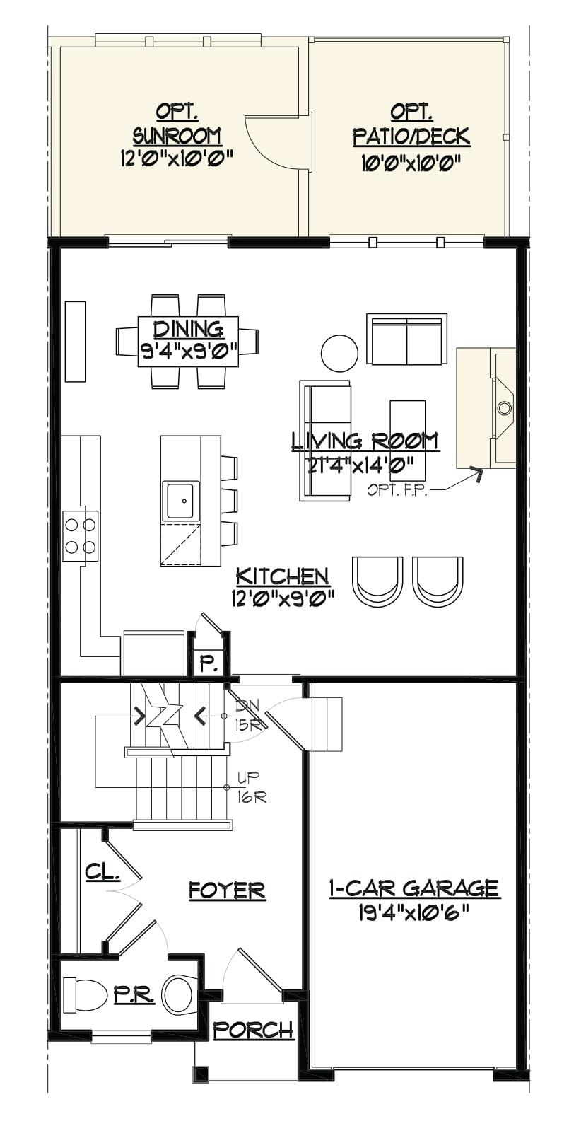 Image of the Jamestown townhome main level floorplan