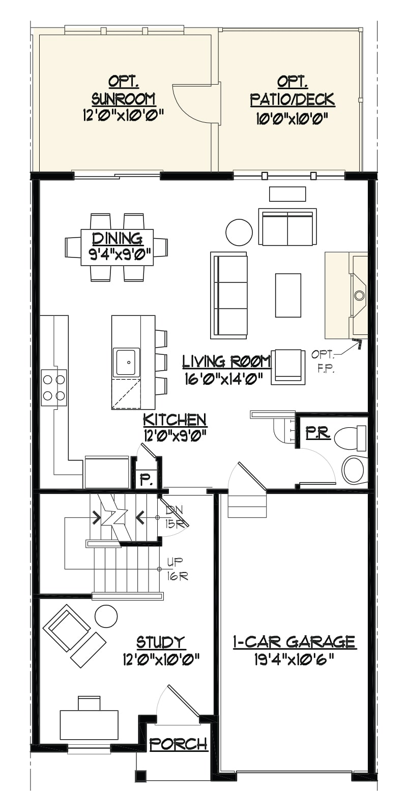 Image of the Jamestown townhome living room area floor plan.