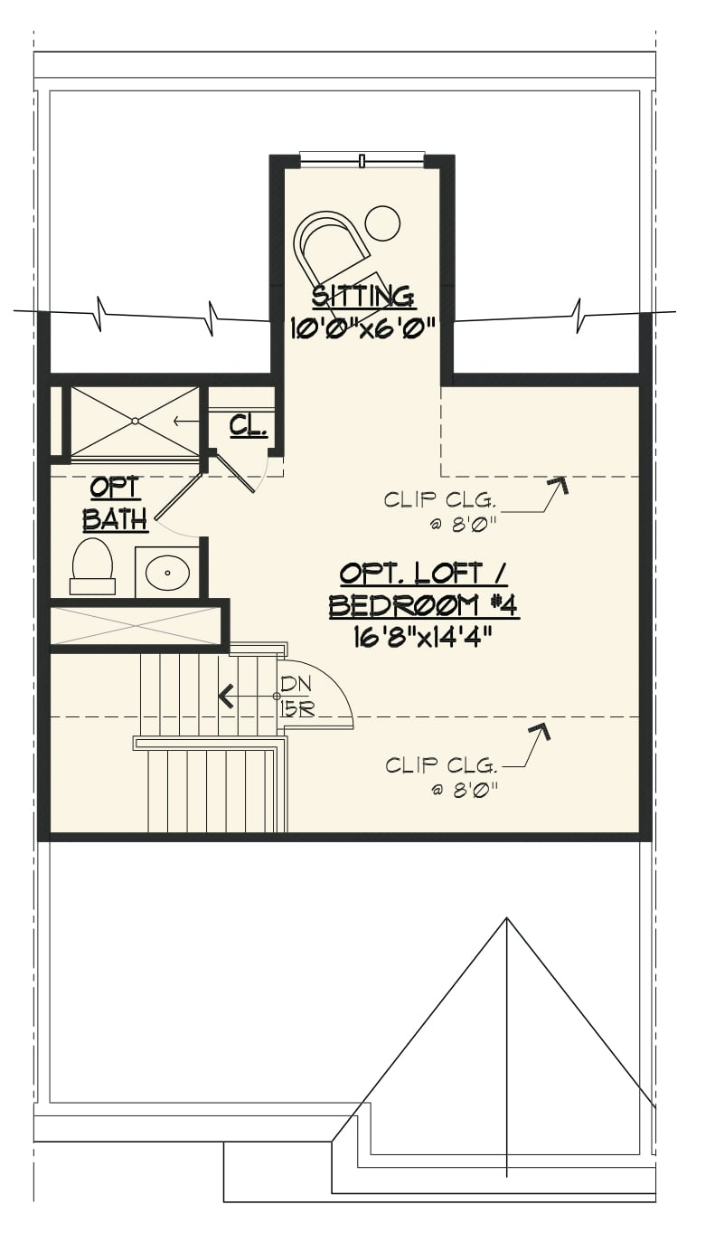 Image of the Jamestown townhome OPT loft floorplan.