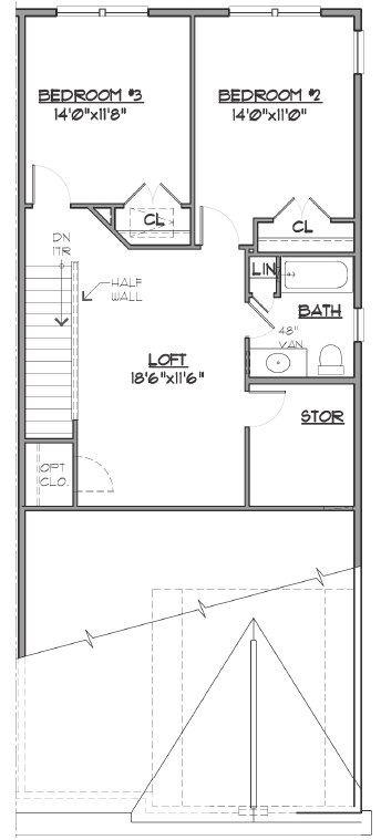 Image of bedroom and loft blueprint.