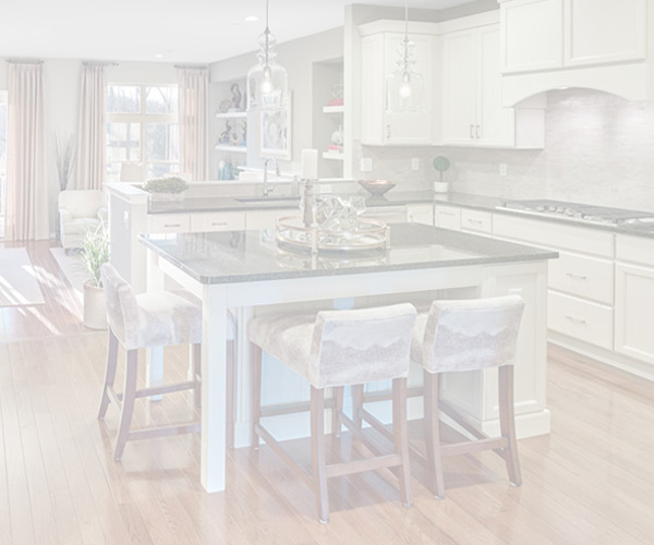 Shaded image of a kitchen in a home in the Walnut Woods community in Kennett Square, PA