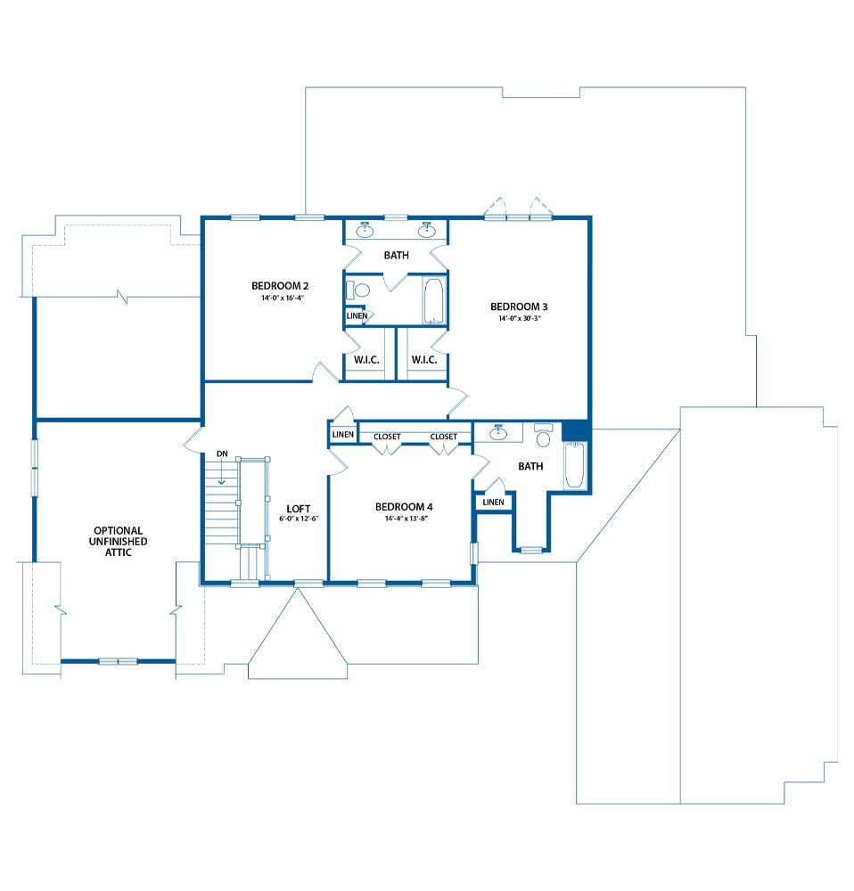 Berkley bedroom level floor plan from Bentley Homes.