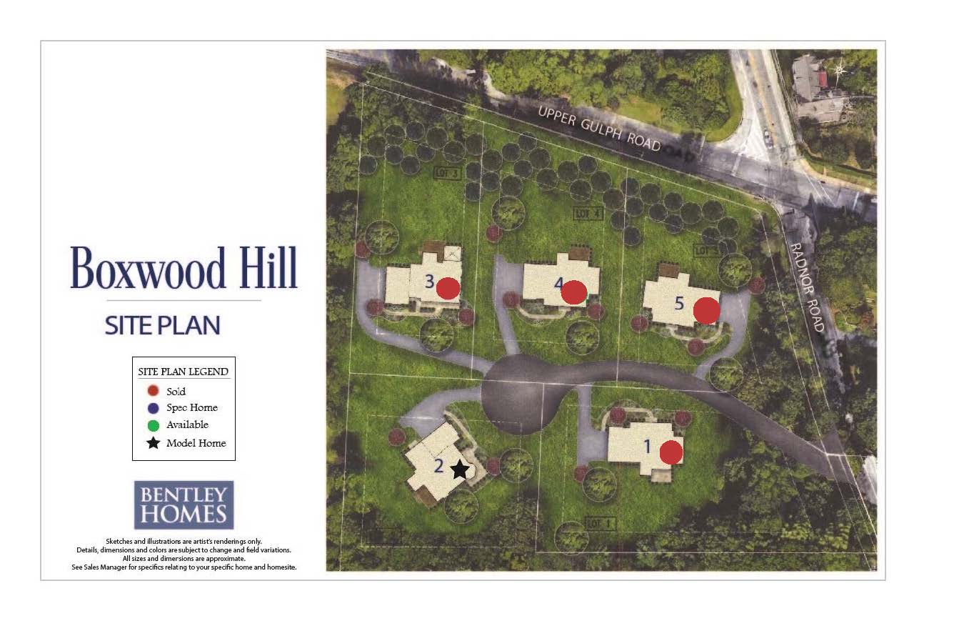 Boxwood Hill site plan from Bentley Homes.
