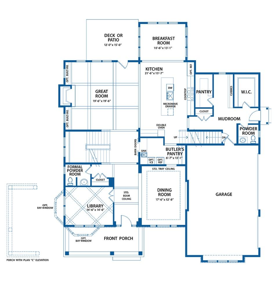 Chandler first level floor plan from Bentley Homes.