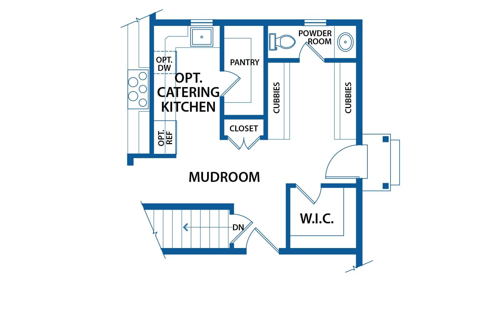 Chandler mudroom option floor plan from Bentley Homes.