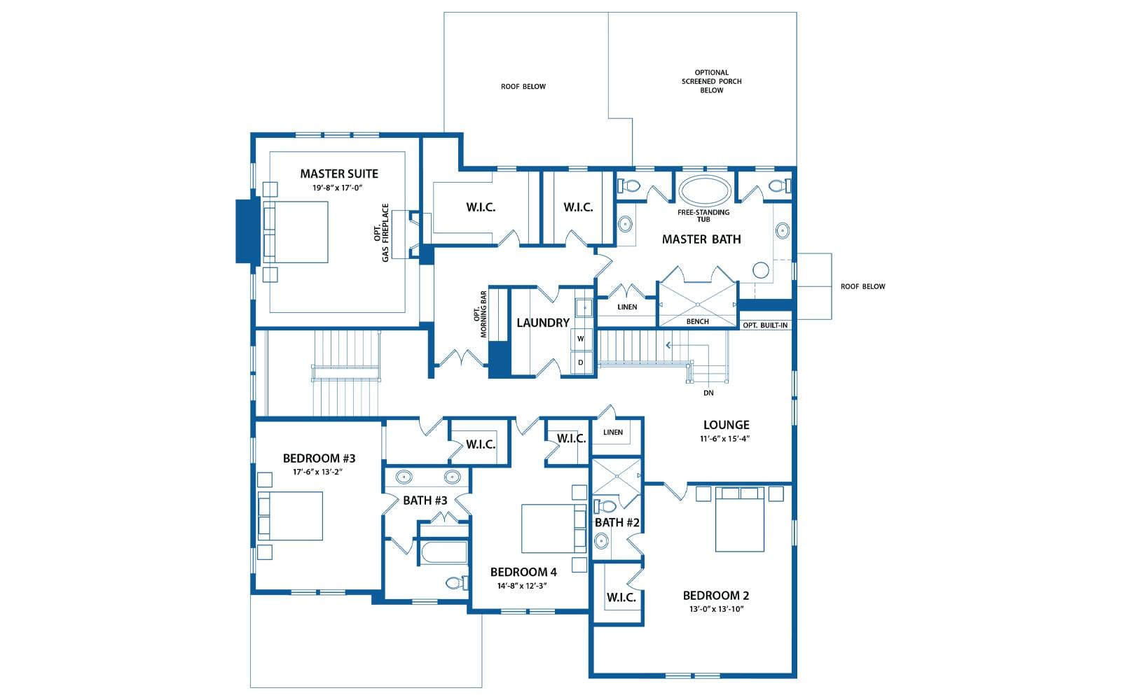 Chandler second level floor plan from Bentley Homes.