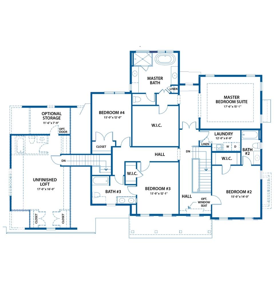 Denbigh bedroom level floor plan from Bentley Homes.