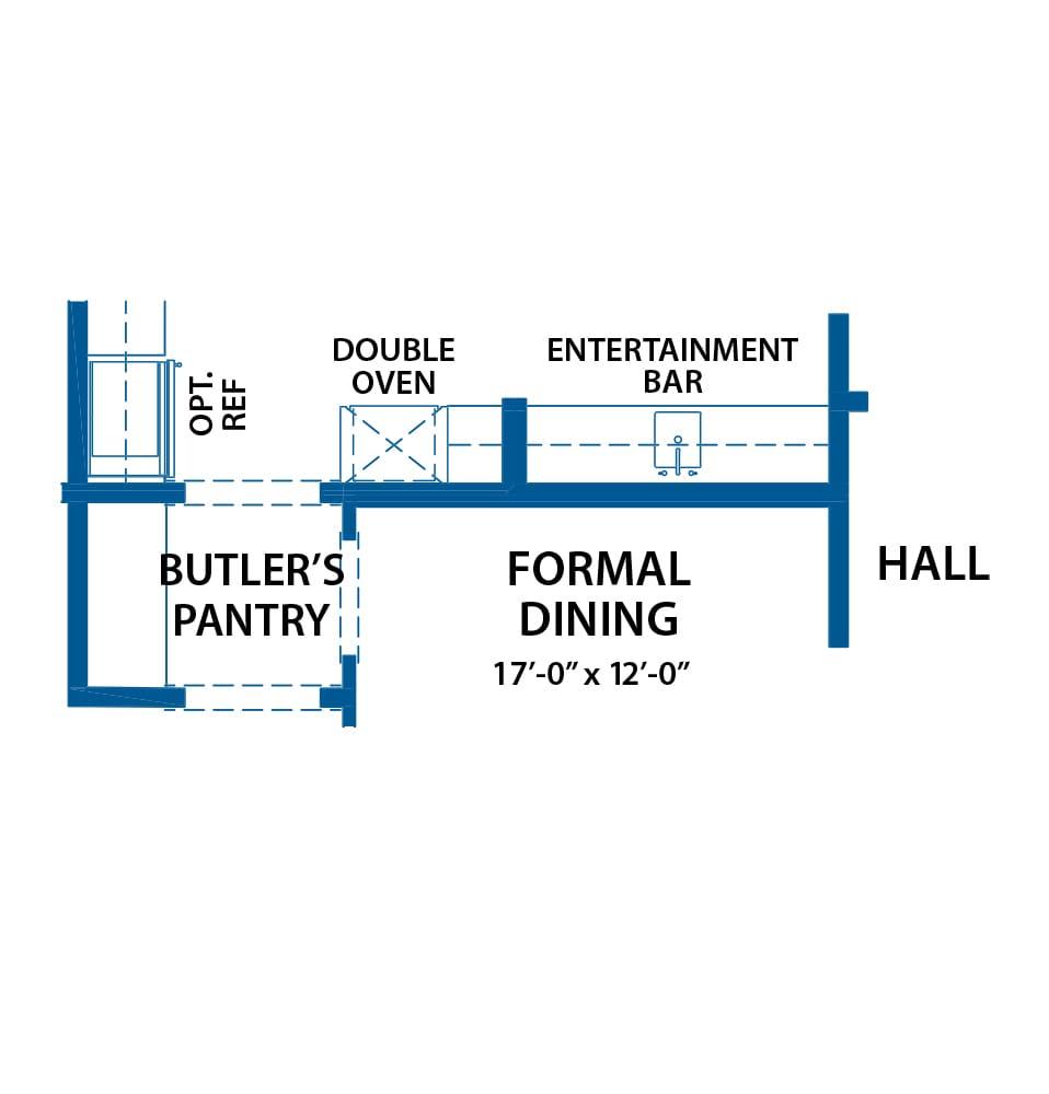 Denbigh wet bar floor plan from Bentley Homes.