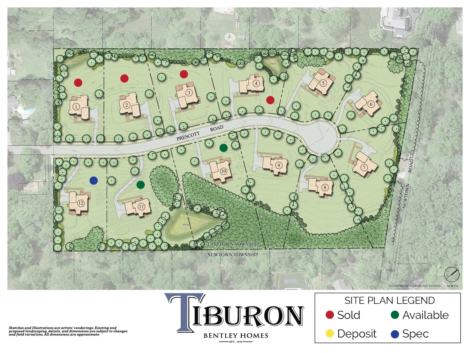 Tiburon New Construction Site Plan in Berwyn