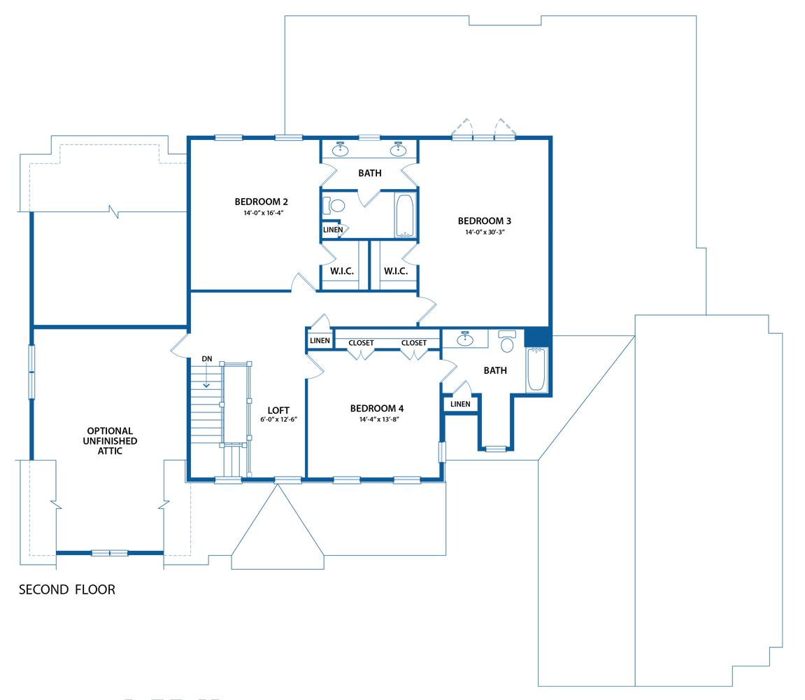 Berkley Home blueprint of second floor plan.