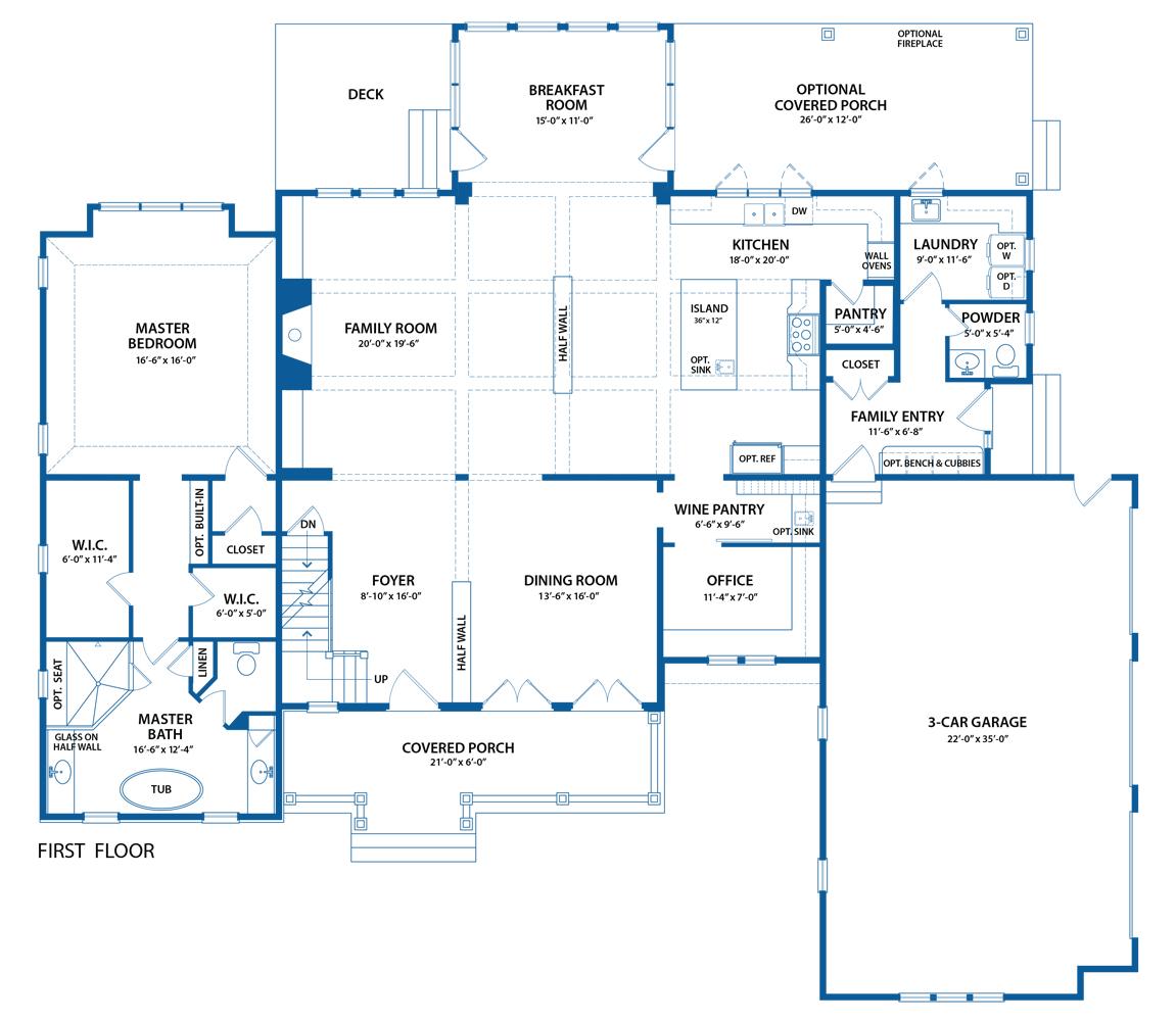 Berkley Home blueprint of first floor plan.