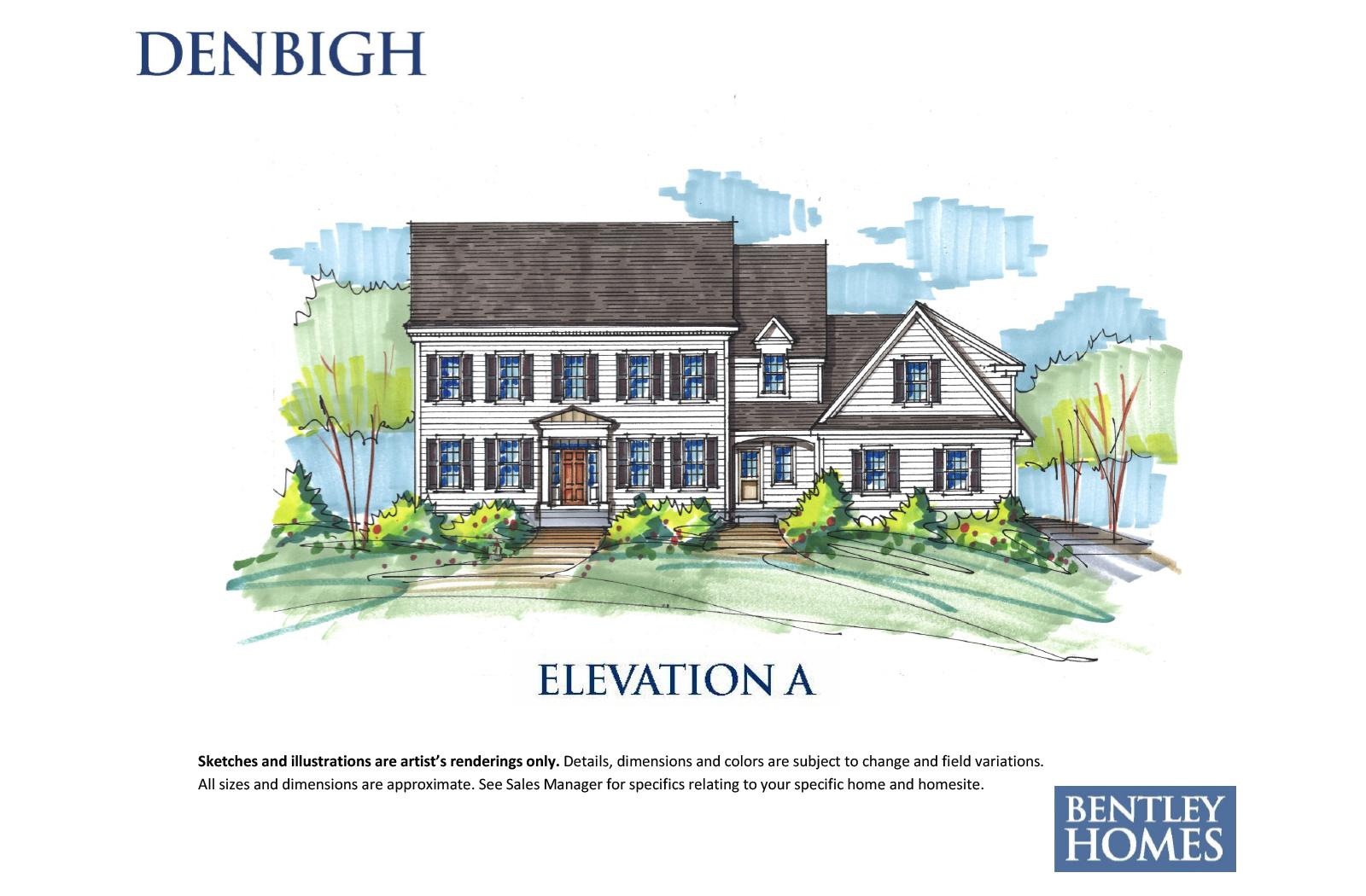 Denbigh illustration of elevation A for Bentley Homes.
