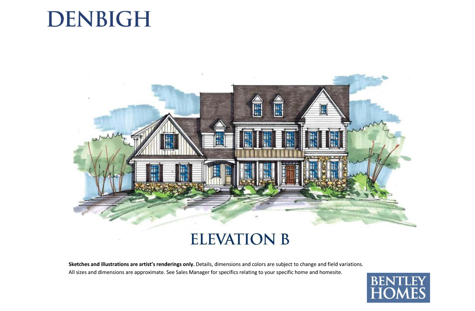 Denbigh illustration of elevation B for Bentley Homes.