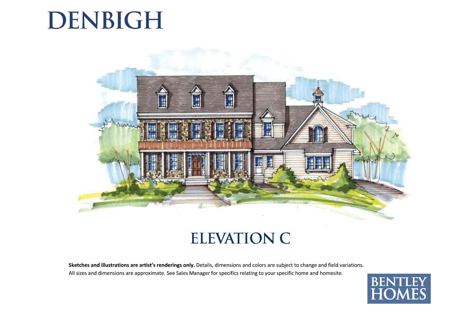 Denbigh illustration of elevation C for Bentley Homes.