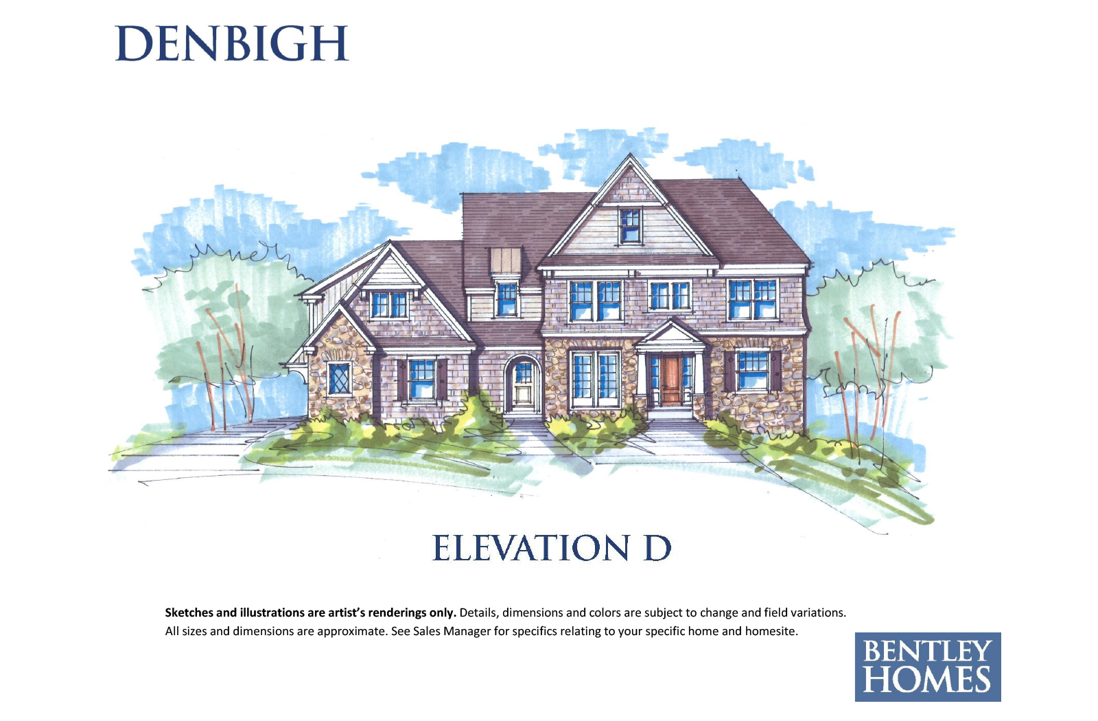 Denbigh illustration of elevation D for Bentley Homes.