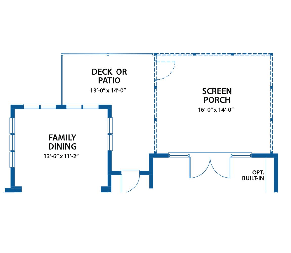 Denbigh porch and patio floor plan.