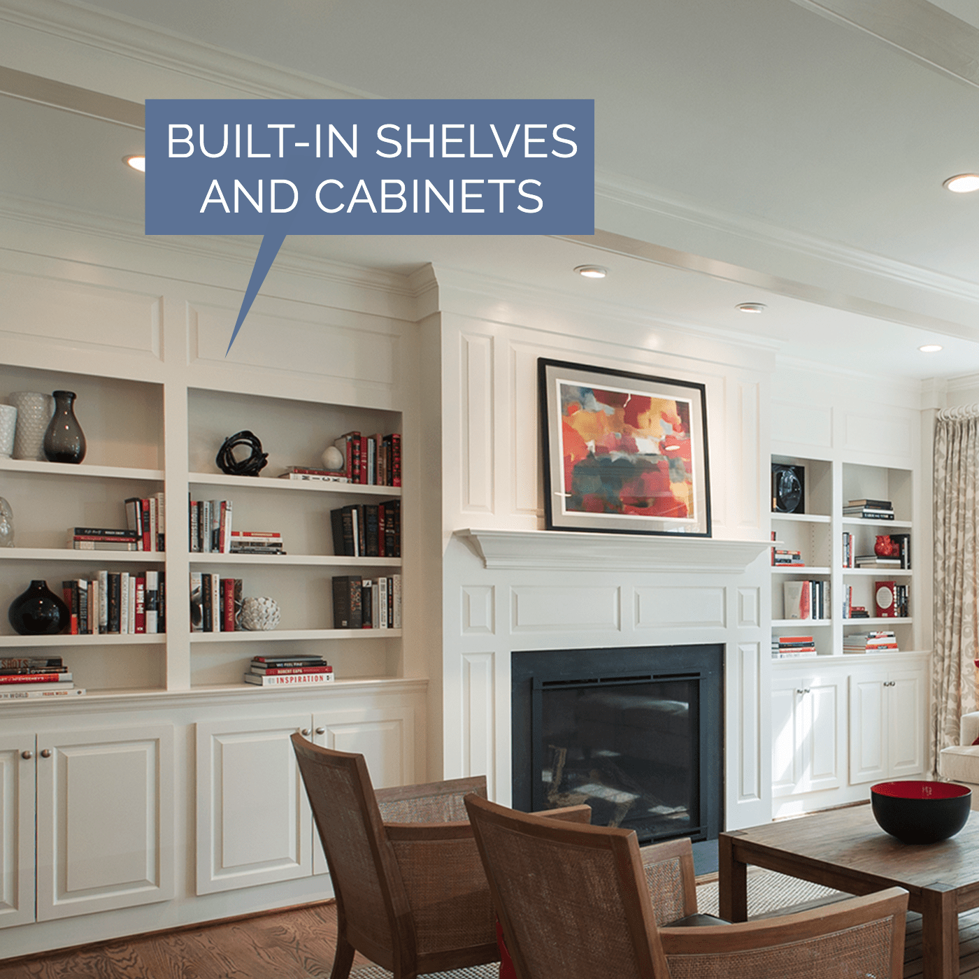 Image of built in shelves and cabinets