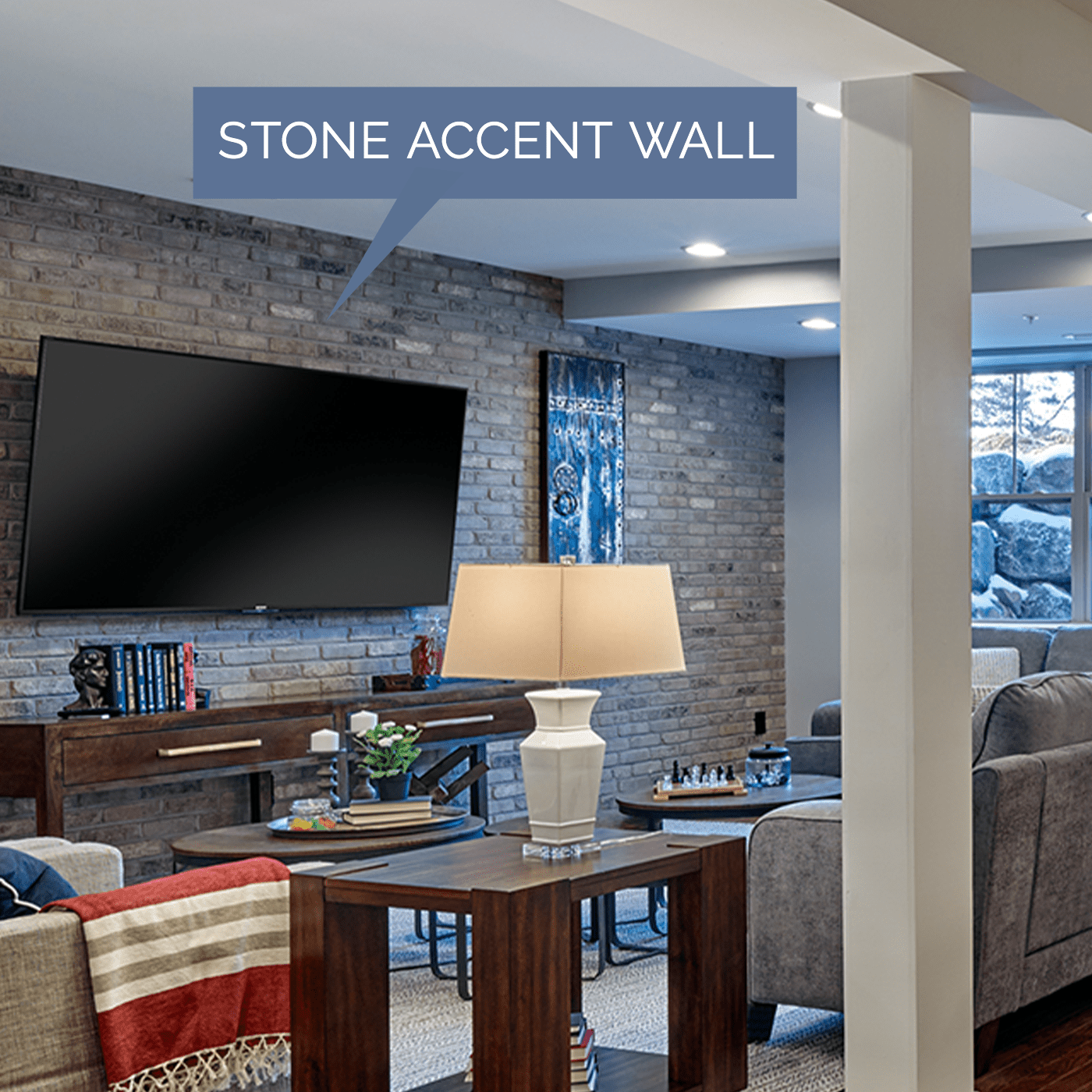 Image of a stone accent wall